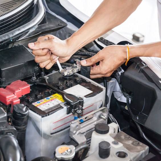 car batteries being tested