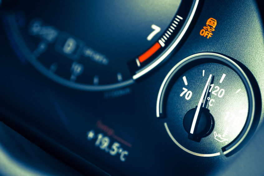 Coolant Temperature Gauge on a Car's Dashboard